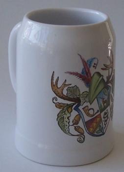 Bierkrug aus Ton mit Wappen echt handgemalt