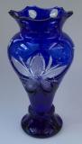 Vase Blume Überfang kobaltblau 1354