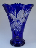 Vase Blume Überfang kobaltblau 1015/33 cm