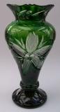 Vase Blume Überfang grün 1354/26 cm